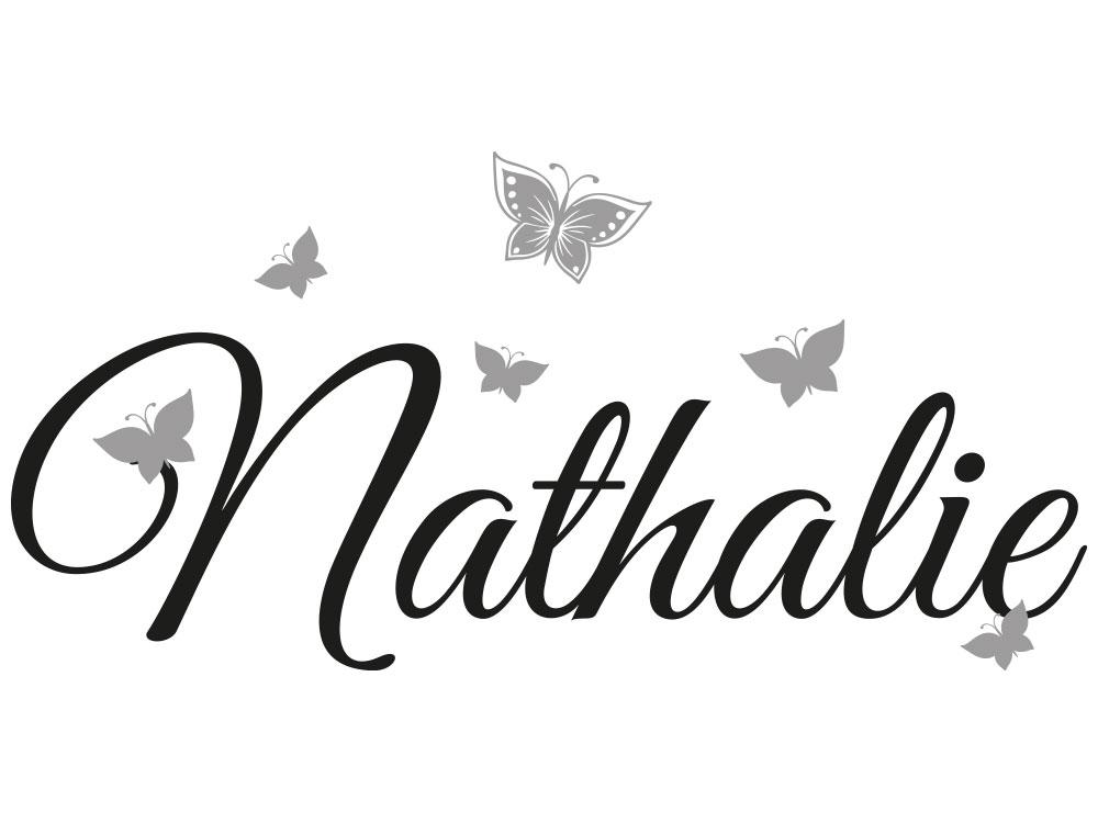 Wandtattoo Name mit Schmetterlinge - Vorschau des Wandtattoos