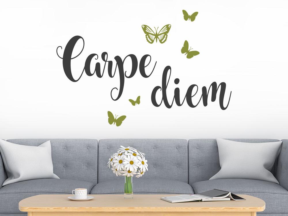 Wandtattoo Carpe Diem mit Schmetterlingen