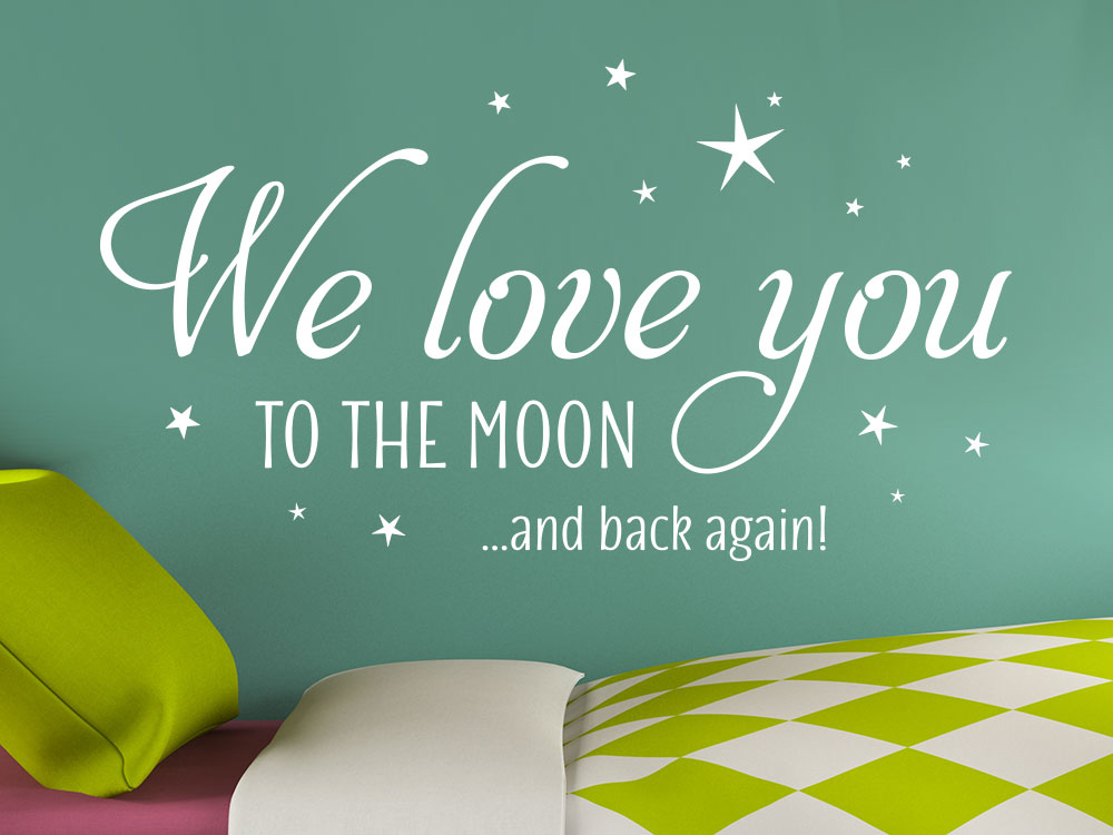 Wandtattoo We love you to the moon in der Farbe Weiß