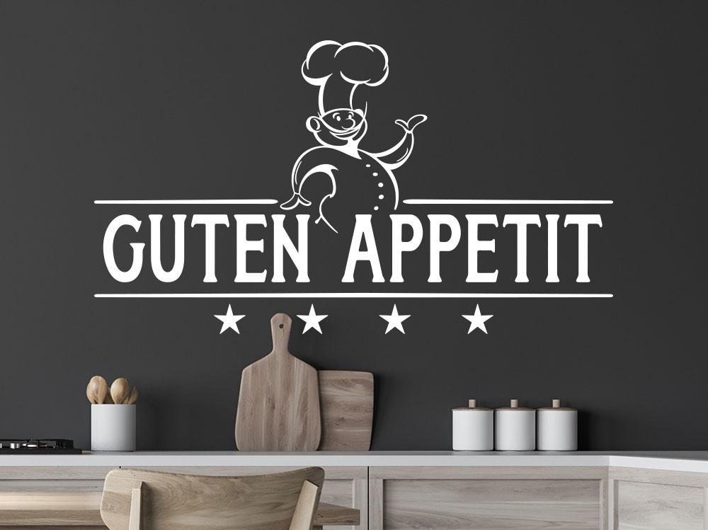 Guten Appetit Wandtattoo mit Chefkoch in einer Wohnküche