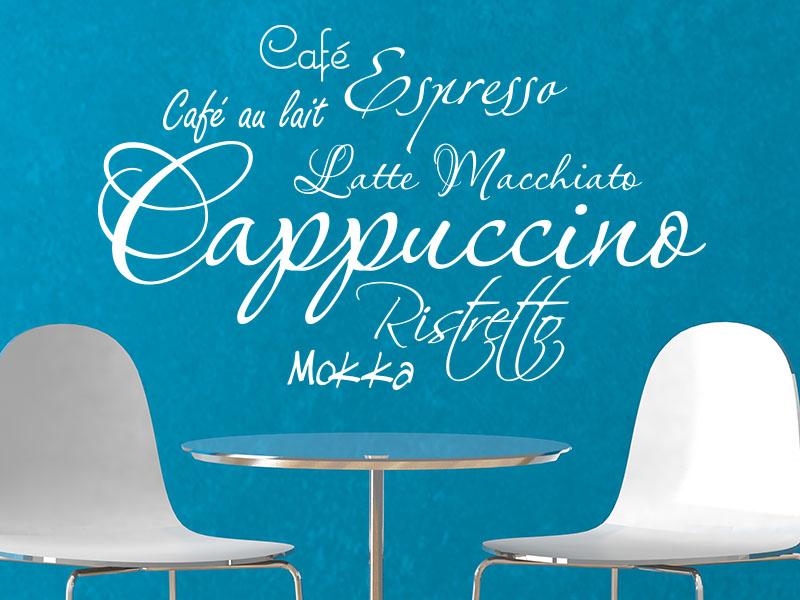Wandtattoo Kaffee als styliche Wortwolke