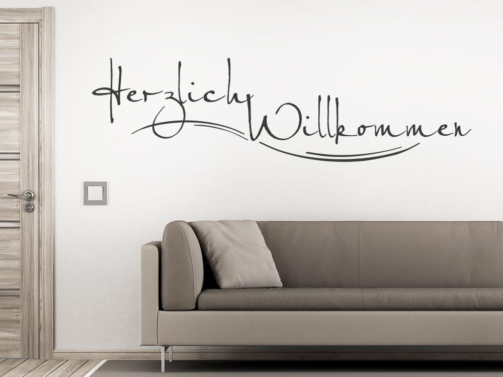 wandtattoo schriftzug herzlich willkommen klebeheld. Black Bedroom Furniture Sets. Home Design Ideas