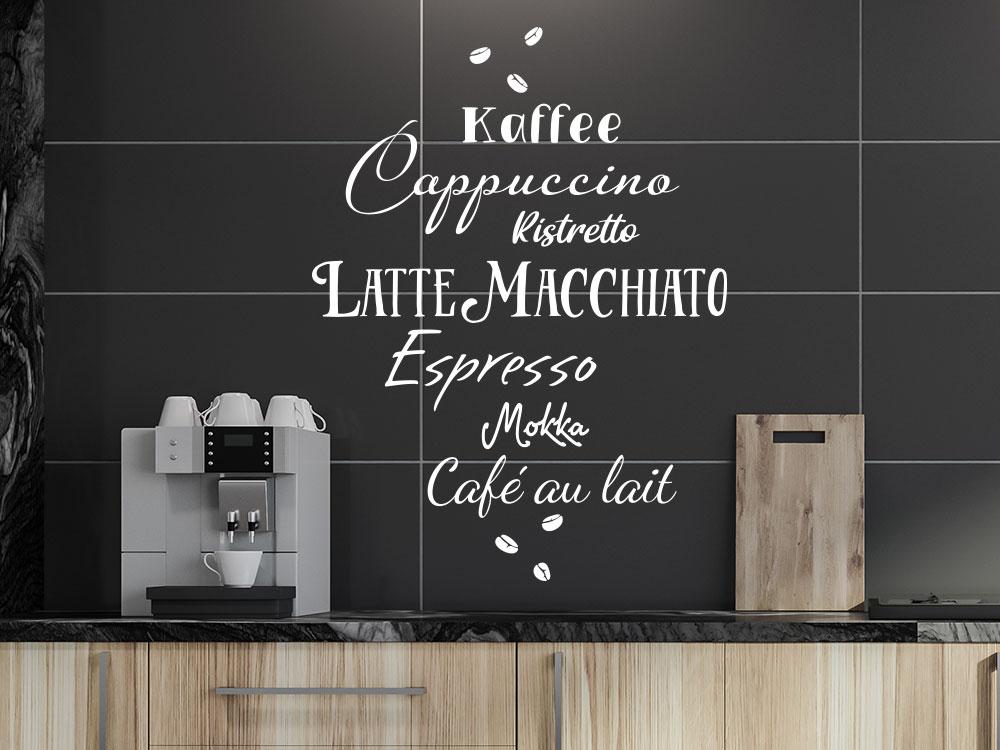 Wandtattoo Kaffee Wortwolke in einer Küche