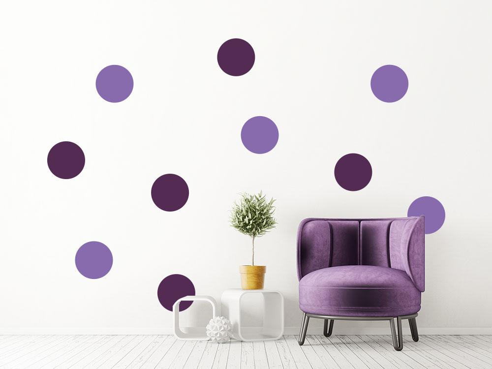 Wandtattoo Klebe Punkte Set im Wohnzimmer