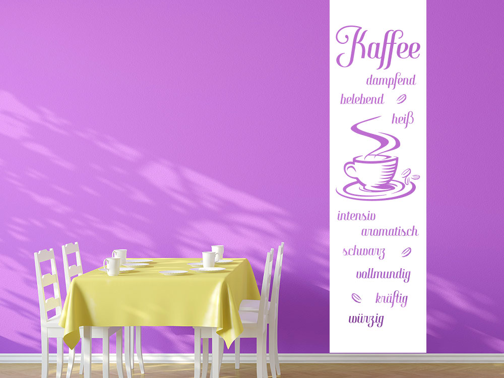 Wandtattoo Wandbanner Kaffespezialitäten im Esszimmer