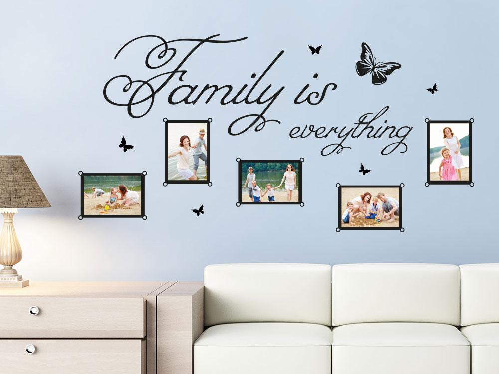 Wandtattoo Fotorahmen Family is everything im Wohnzimmer über Sofa