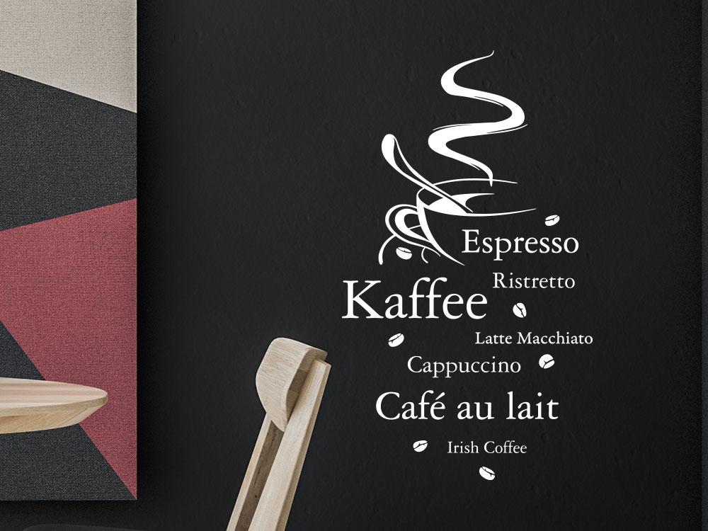 Wandtattoo Kaffeesorten Wortwolke im Esszimmer