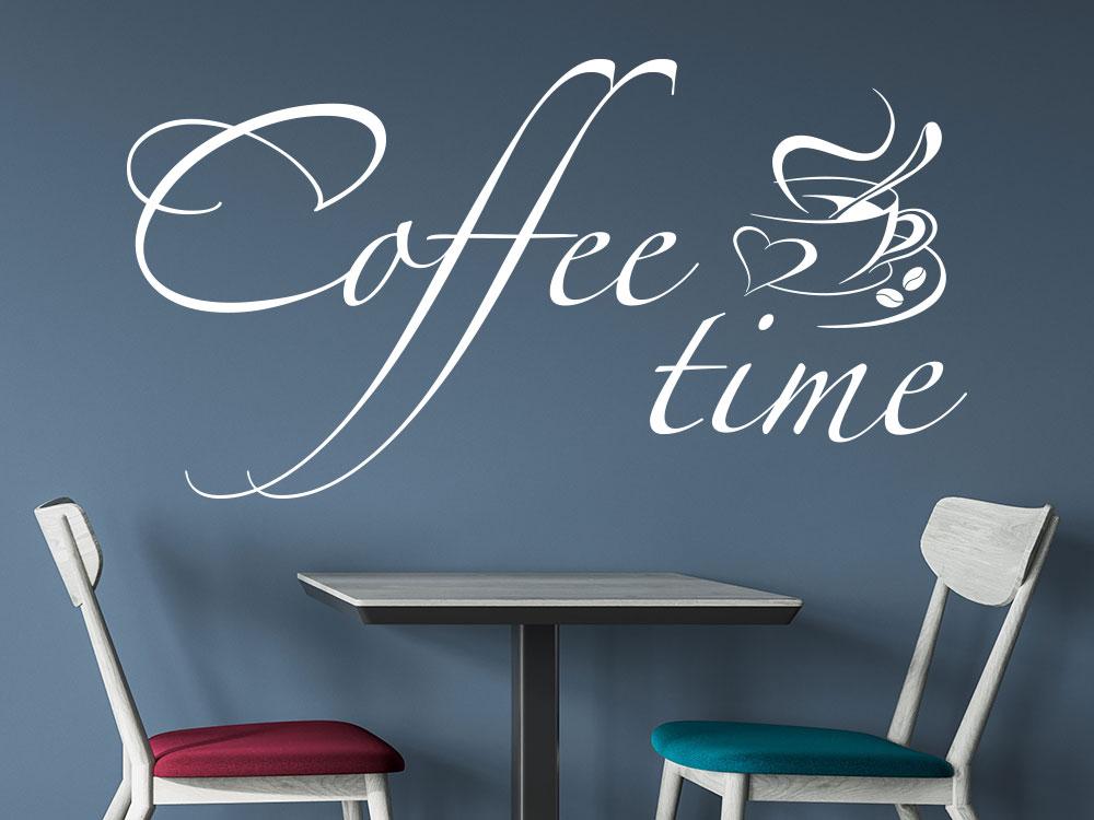 Wandtattoo Coffee time mit dampfender Kaffeetasse