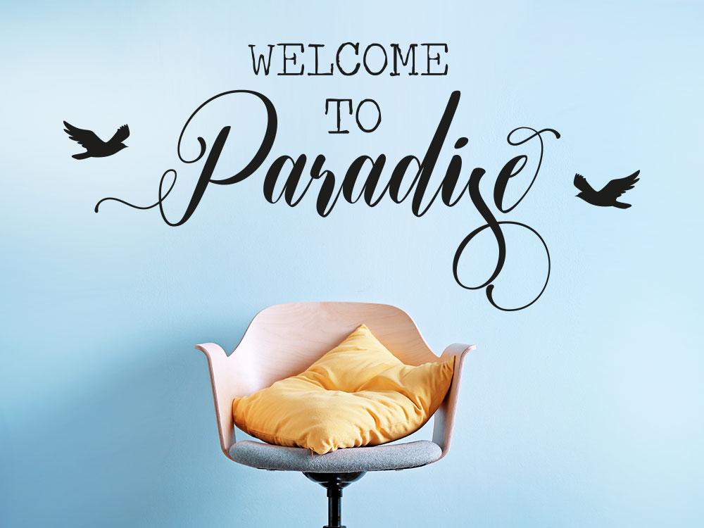 Wandtattoo Welcome to Paradise im Flur mit Vögel