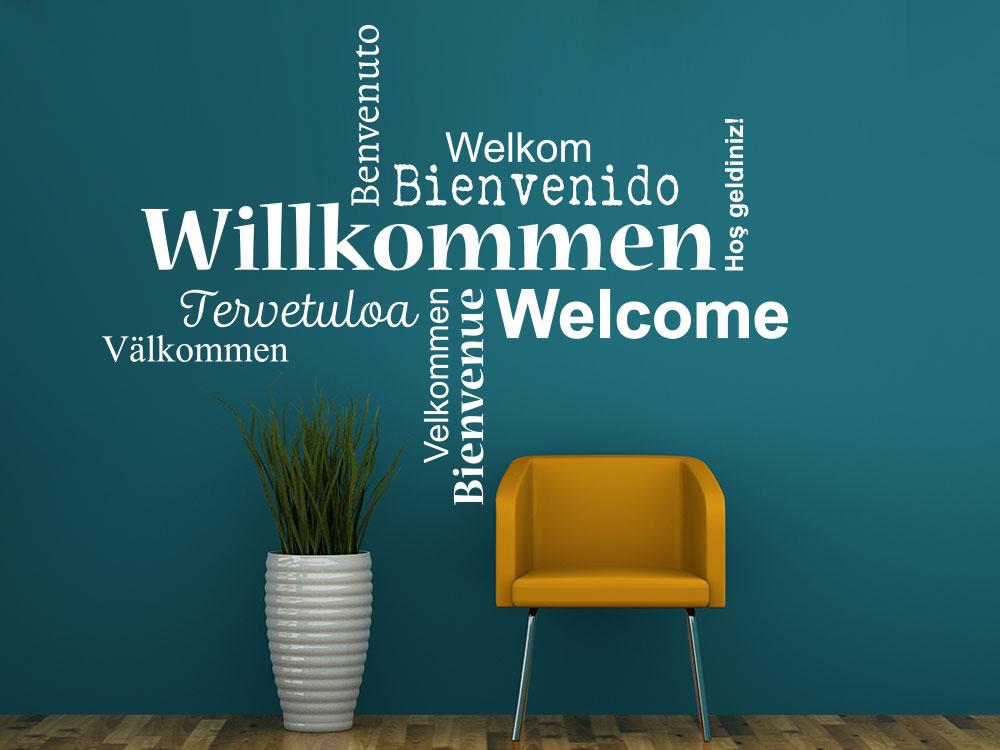 Wandtattoo Willkommen Wortwolke Sprachen