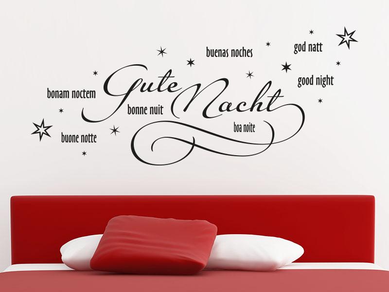 Wandtattoo Gute Nacht in 8 Sprachen