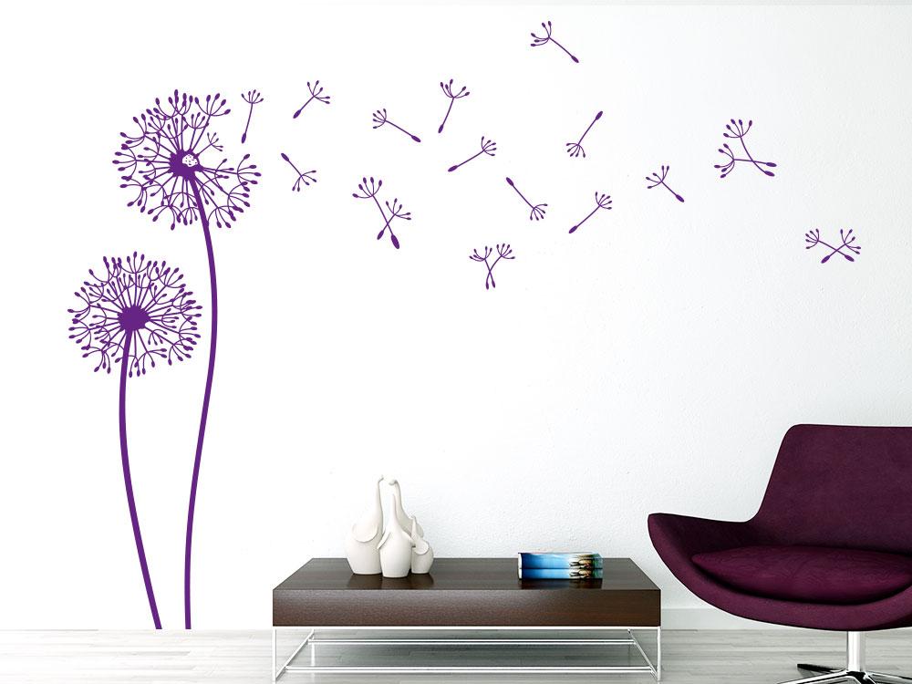 Pusteblumen im Wind Wandtattoo violett
