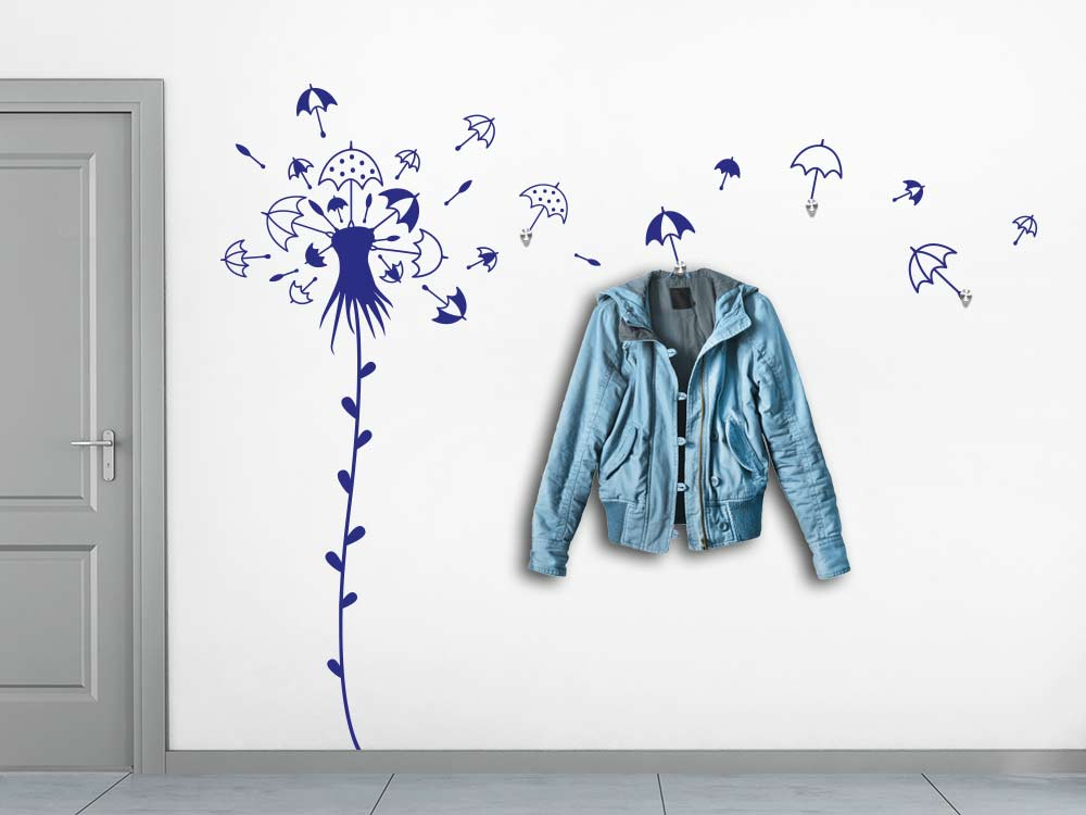 Wandtattoo Wandgarderobe Pusteblume aus Regenschirme