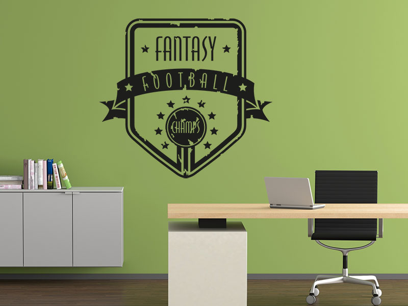 Wandtattoo Retro Button Fantasy Football Champs