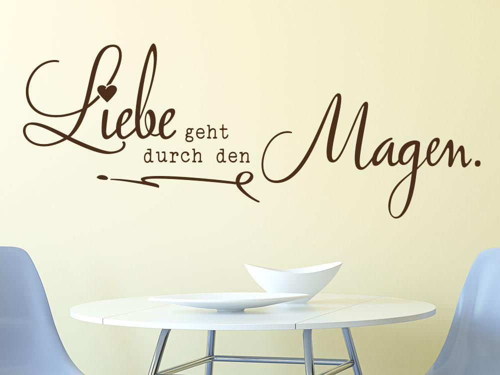 Dekoratives Wandtattoo Liebe geht durch den Magen als Wandgestaltung in der Küche