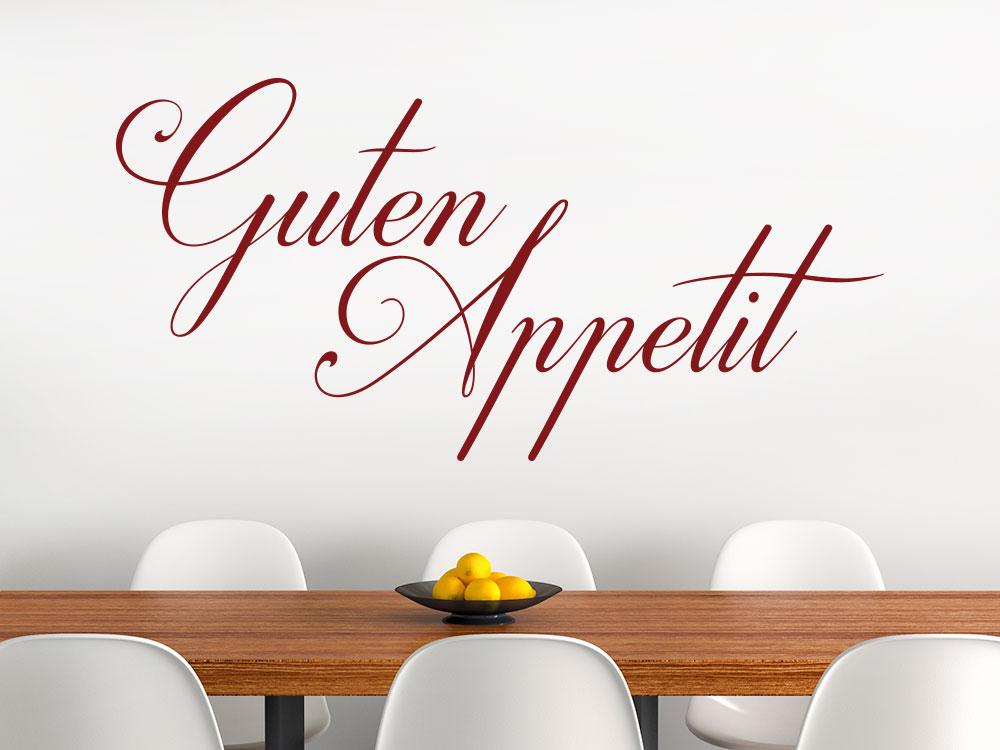 Guten Appetit Schriftzug Wandtattoo im Esszimmer
