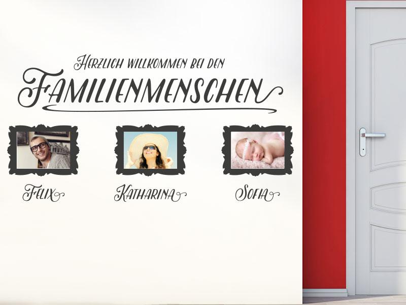Wandtattoo Herzlich willkommen bei den Familienmenschen als Fotorahmen
