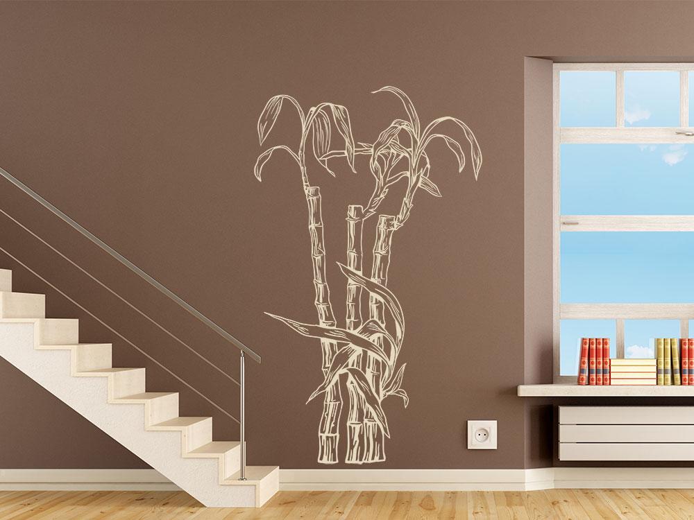Wandtattoo Bambus Gewächs im Flur in der Farbe Beige