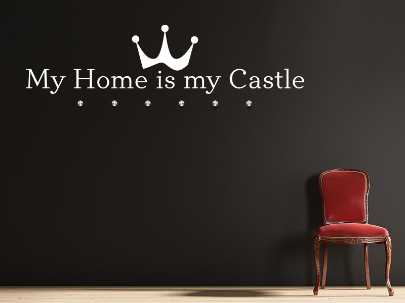 Wandtattoo Garderobe My home is my castle