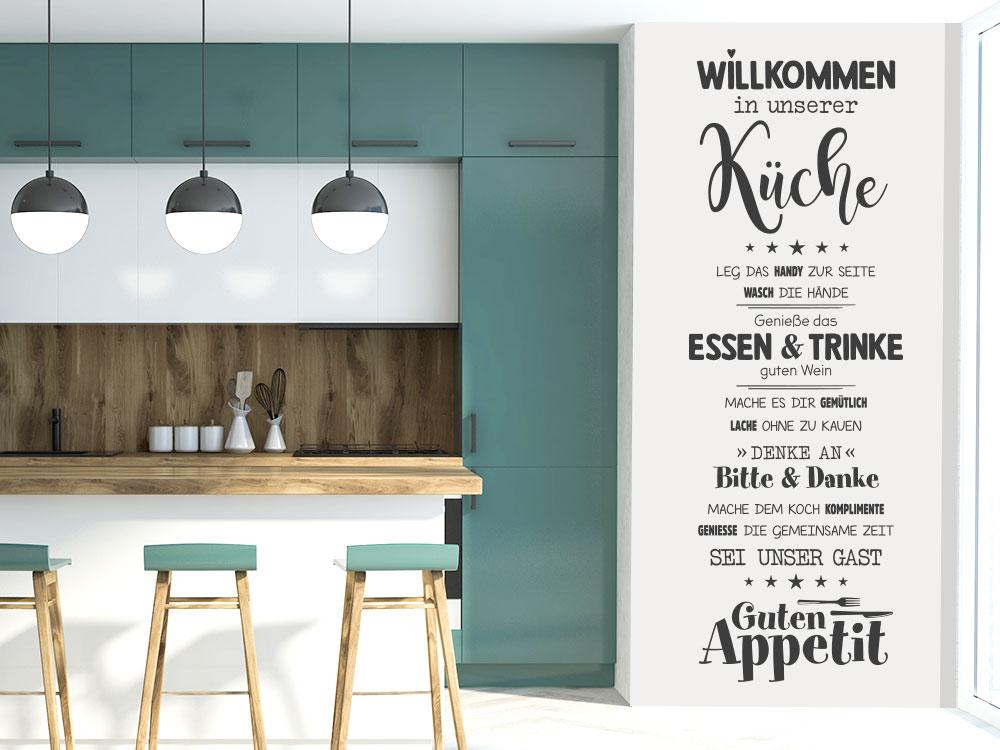 Wandtattoo Banner Willkommen in unserer Küche neben Küchenblock