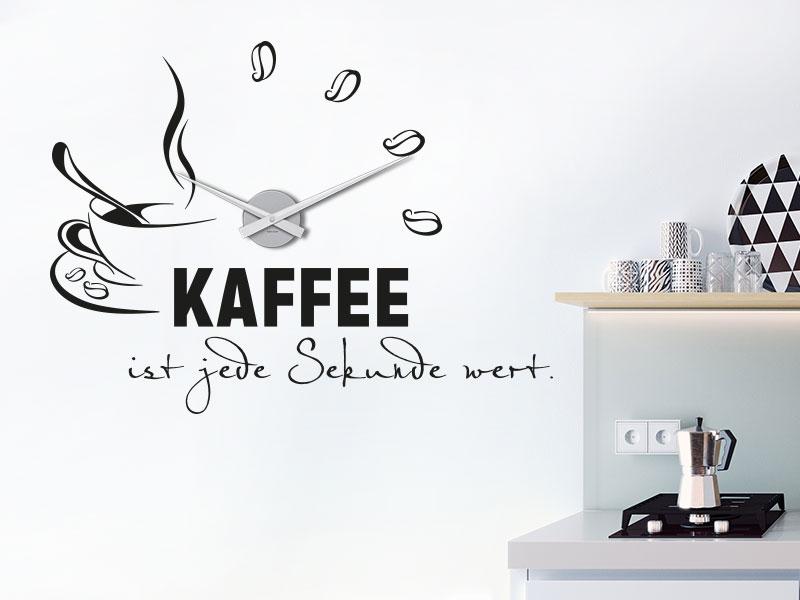 Wandtattoo Uhr Kaffee ist jede Sekunde wert