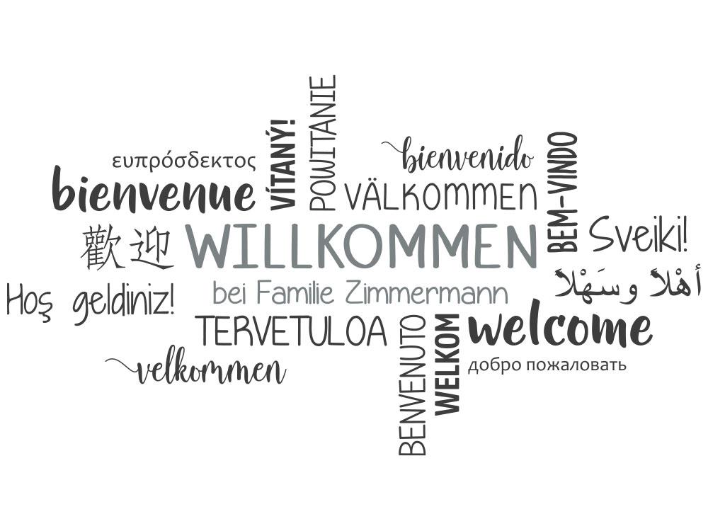 Wandtattoo Willkommen Wortwolke Familie - Gesamtansicht des Wandtattoos