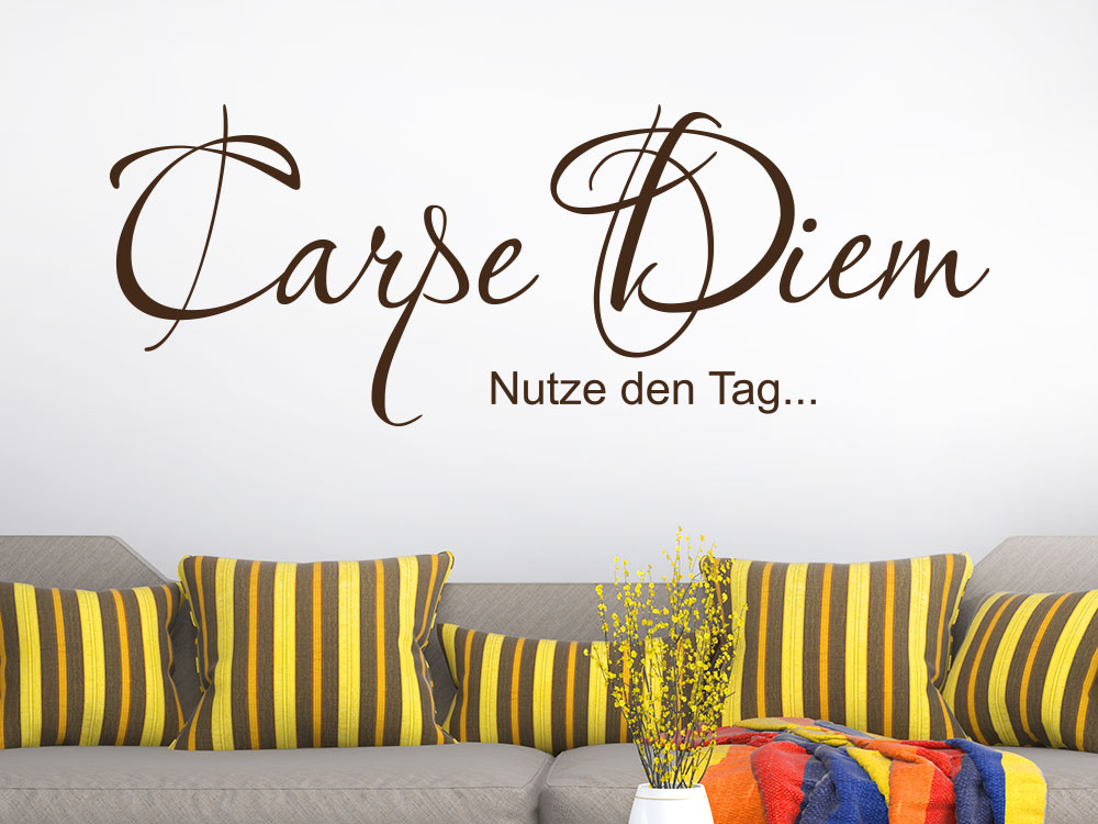 Wandtattoo Carpe Diem No.02 in brauner Farbe