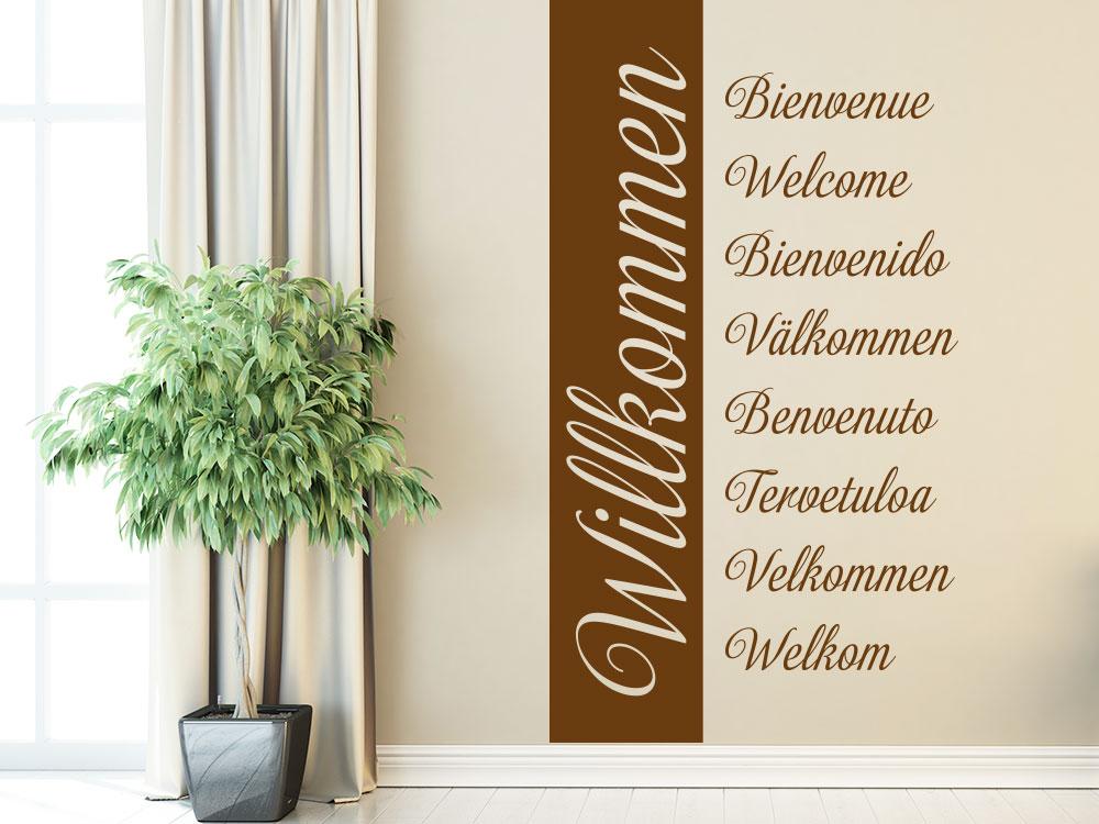 Wandtattoo Banner Willkommen in mehreren Sprachen