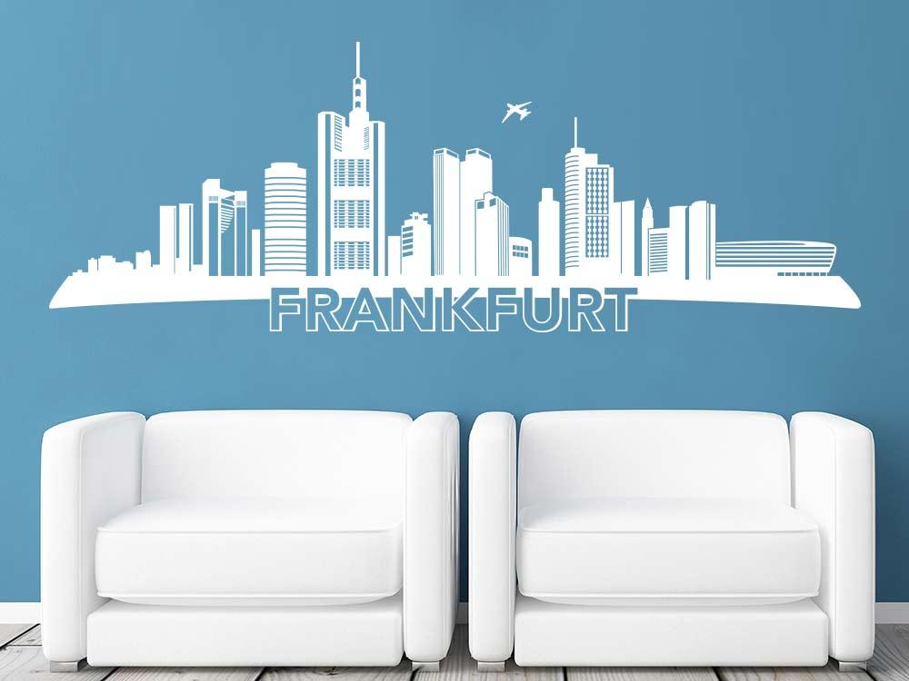 Wandtattoo Frankfurt mit Skyline im Wohnzimmer
