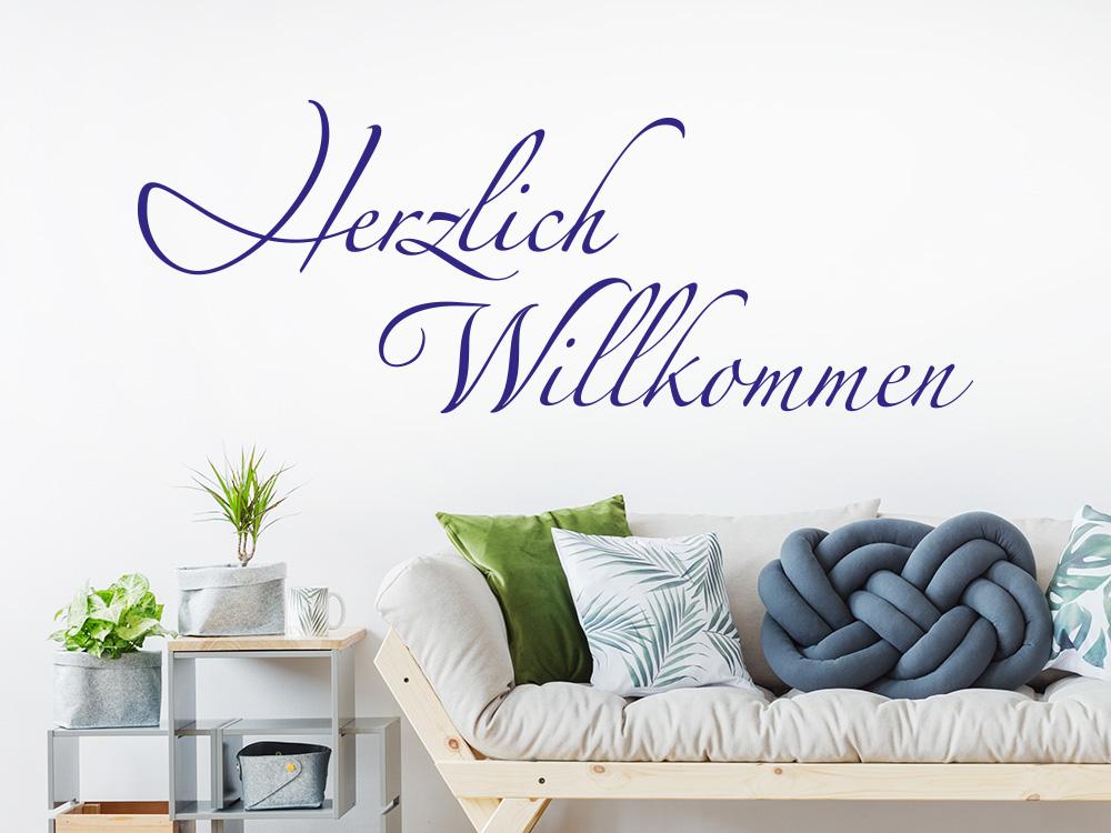 Wandtattoo Dekoratives Herzlich Willkommen KLEBEHELD DE