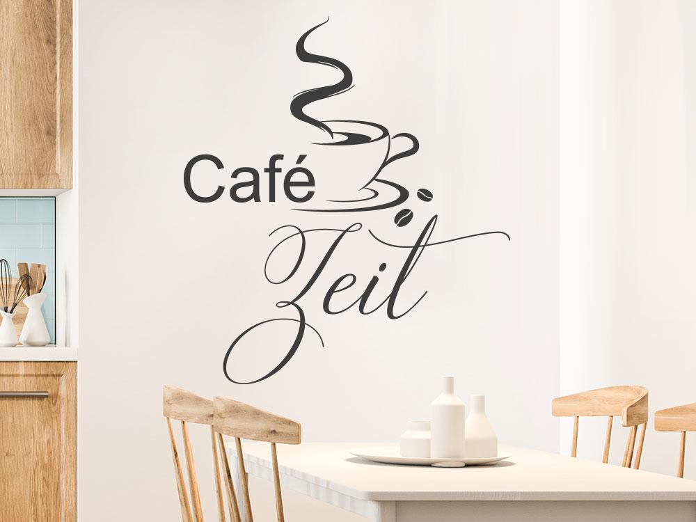 Wandtattoo Café Zeit mit dampfender Kaffeetasse und Kaffeebohnen