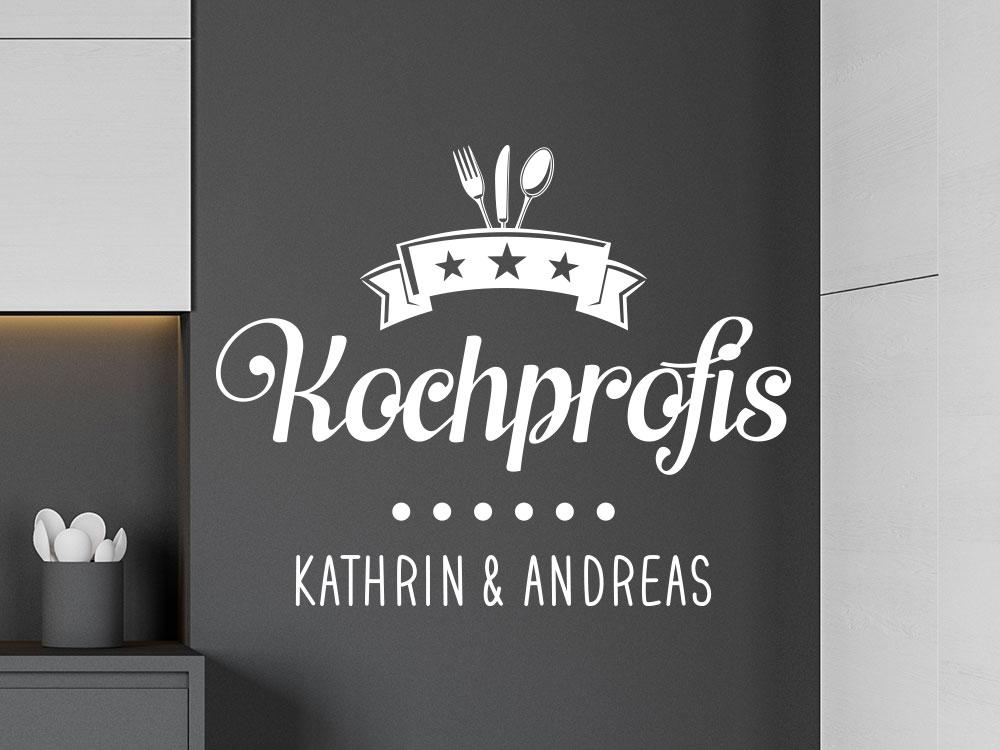 Dekoratives Kochprofis Wandtattoo mit Wunschname in der Küche