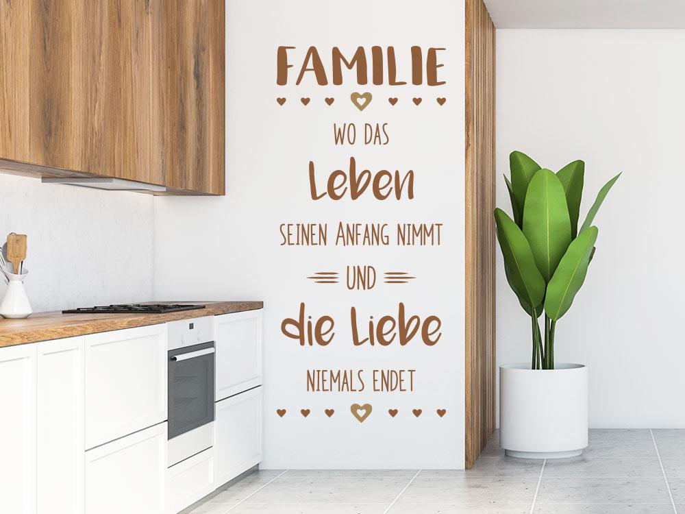 Wandtattoo Familie Leben Liebe  Spruch Küche
