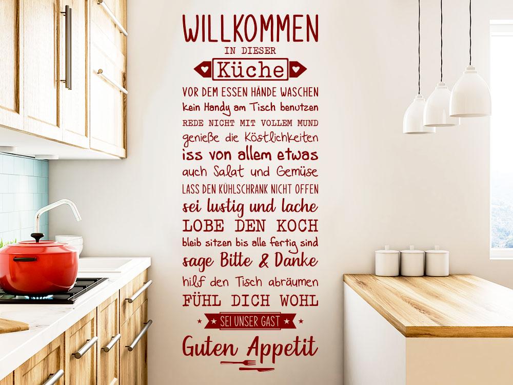 Wandtattoo Spruchband Willkommen In dieser Küche neben Küchenblock