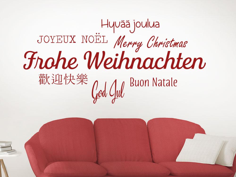 Wandtattoo Frohe Weihnachten in verschiedenen Sprachen