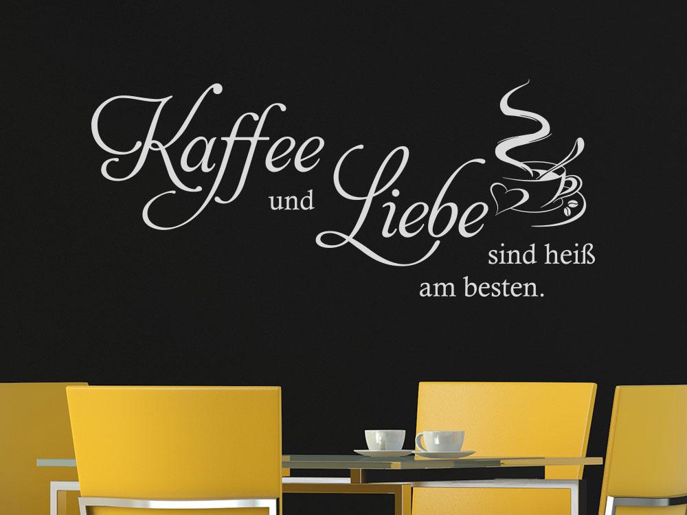 Wandtattoo Kaffee und Liebe mit Kaffeetasse und Herz