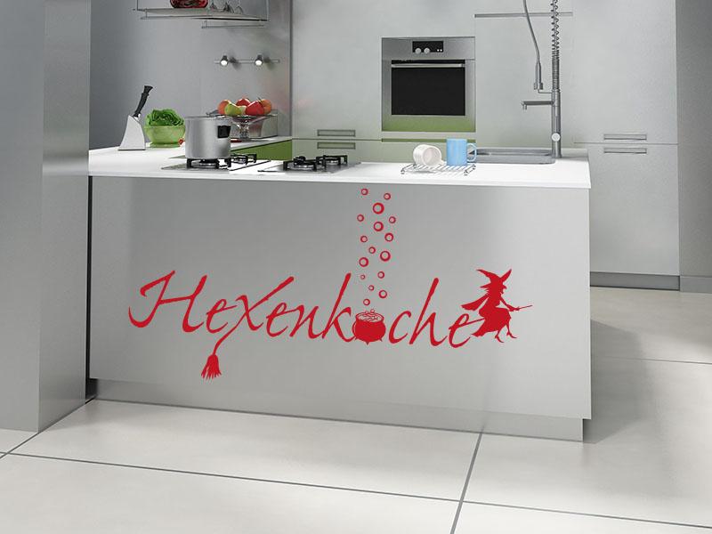 Wandtattoo Hexenküche auf Küchenblock in rot