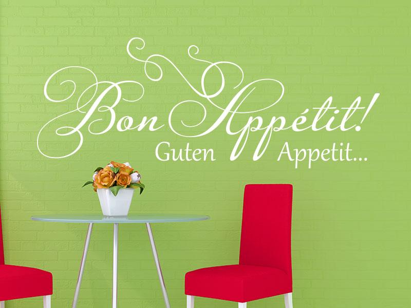 Wandtattoo verschnörkeltes Bon Appétit in Weiß