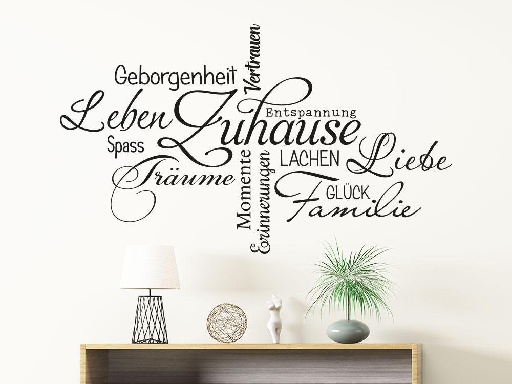 Wandtattoo Zuhause Wortwolke über Sideboard im Flur