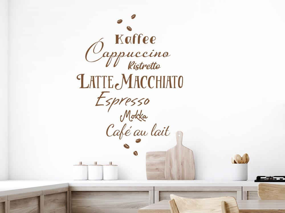 Wandtattoo Kaffee Begriffe in einer Küche
