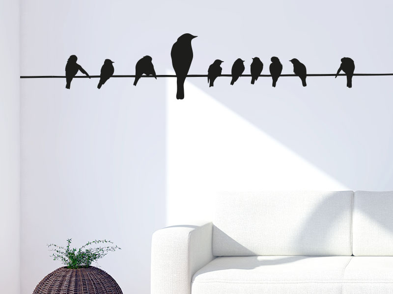 Wandtattoo Vögel auf dem Seil