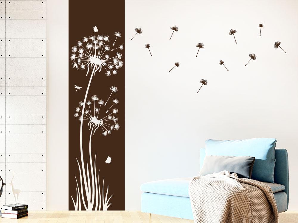 Wandtattoo Pusteblumen Banner auf heller Wand