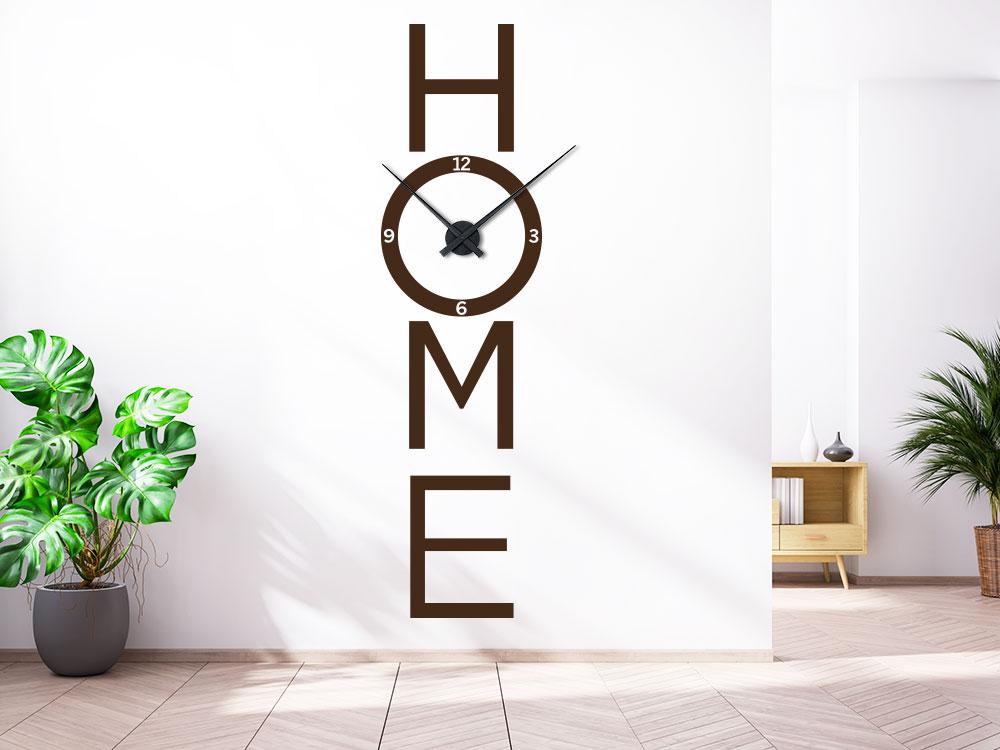 Wanduhr  Wandtattoo Uhr Home im Flur auf heller Wand