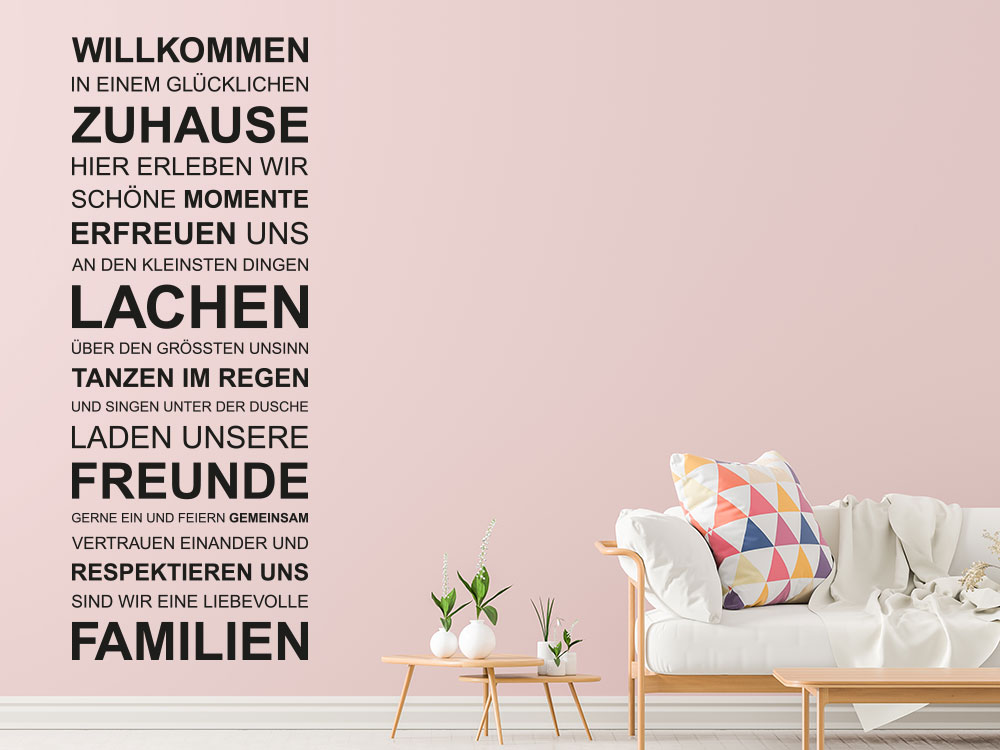 Wandtattoo Spruchband Willkommen in einem glücklichen Zuhause im Wohnzimmer