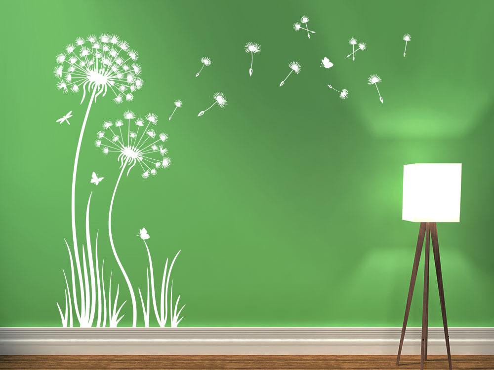 Pusteblume Wandtattoo  im Gras in der Farbe Weiss