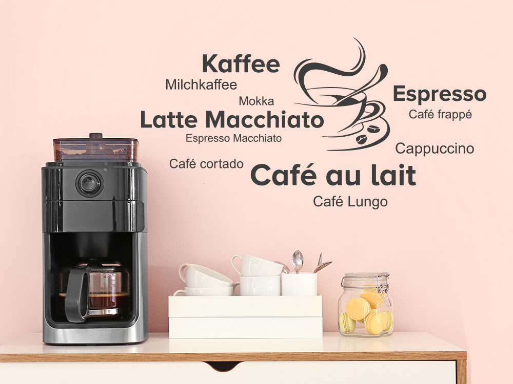 Wandtattoo Kaffee Espresso Cappuccino