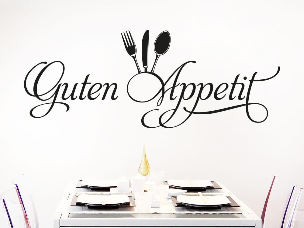 Wandtattoo Guten Appetit mit Besteck im Esszimmer über Tisch