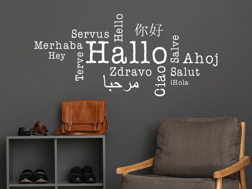 Hallo Wandtattoo in verschiedenen Sprachen