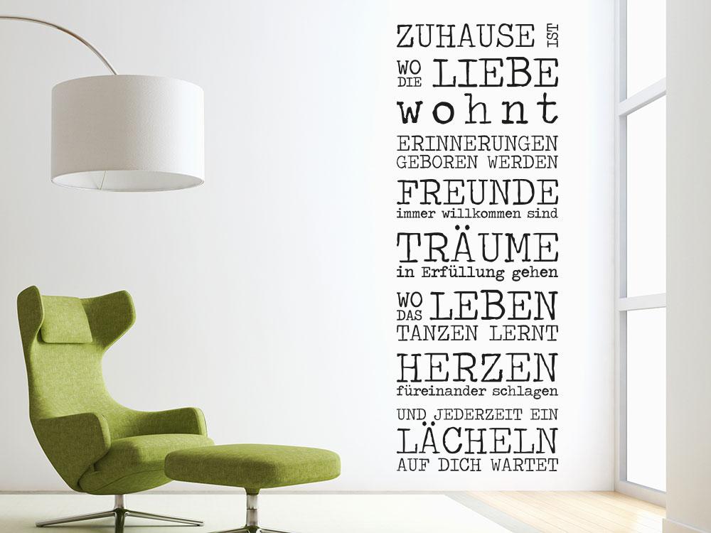 Wandtattoo Spruch Zuhause ist wo die Liebe wohnt Retro auf weißer Wand