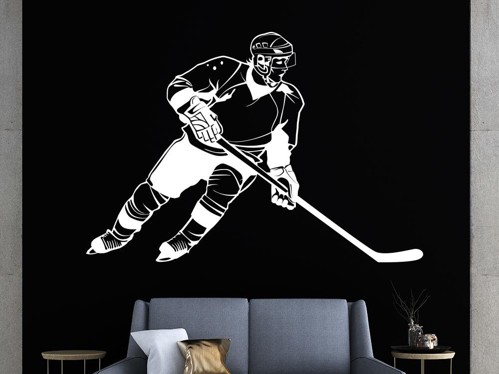 Wandtattoo Eishockey auf dunkler Wand